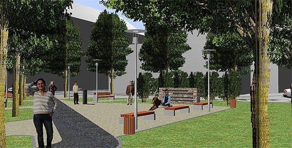 Návrh parčíku před železničním nádražím ve Znojmě - studie