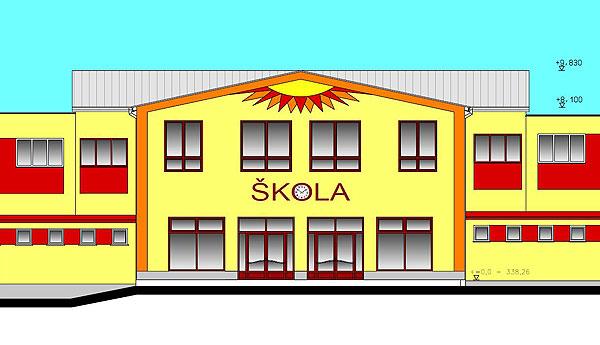 Rekonstrukce školy v Kravsku studie 2007